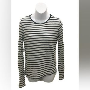 Vince White Blue Long Sleeve Striped Sheer Top